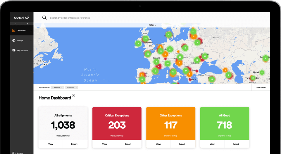 Sorted product dashboard