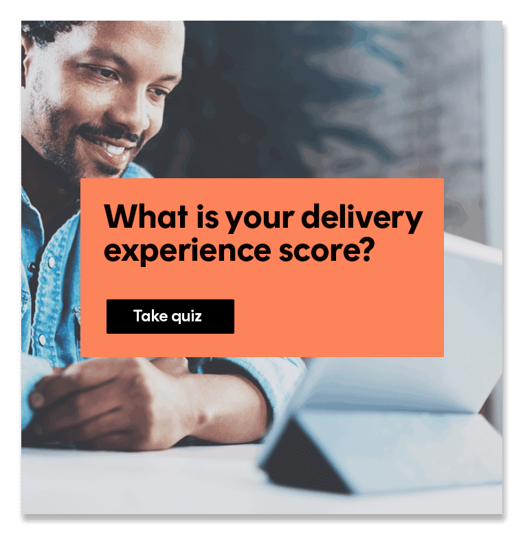 User taking the Delivery Experience quiz