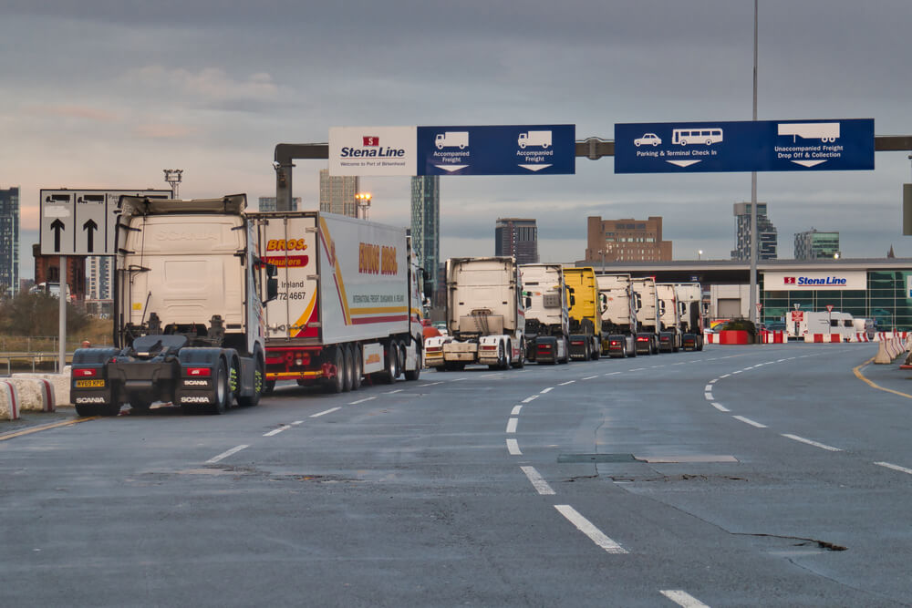 Queue of lorries at shipping port