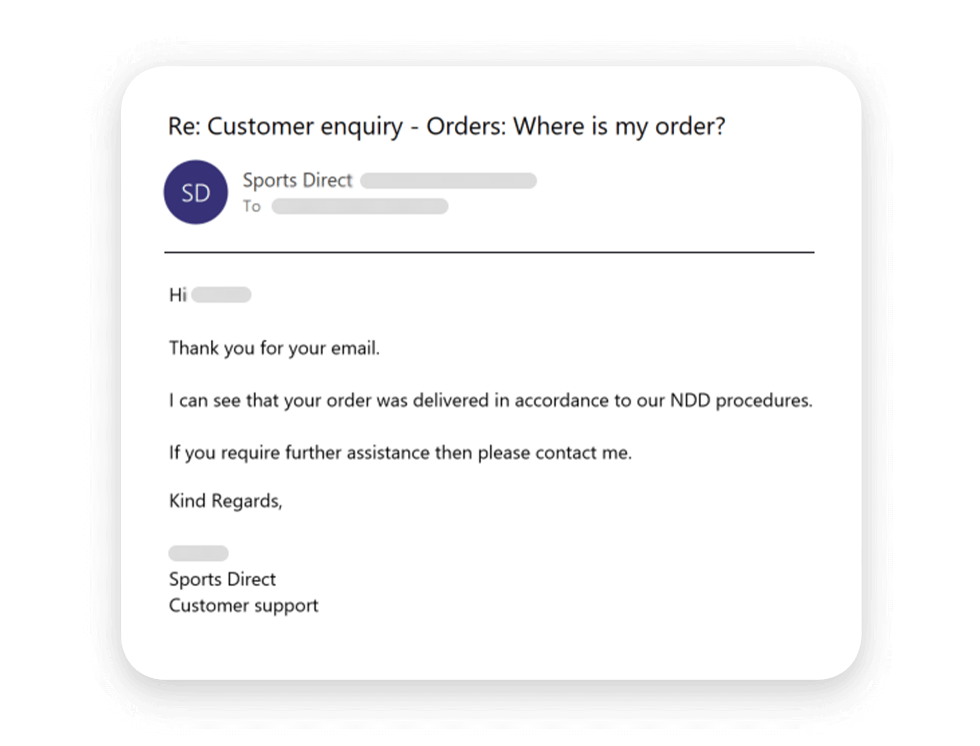 Enquiry order email